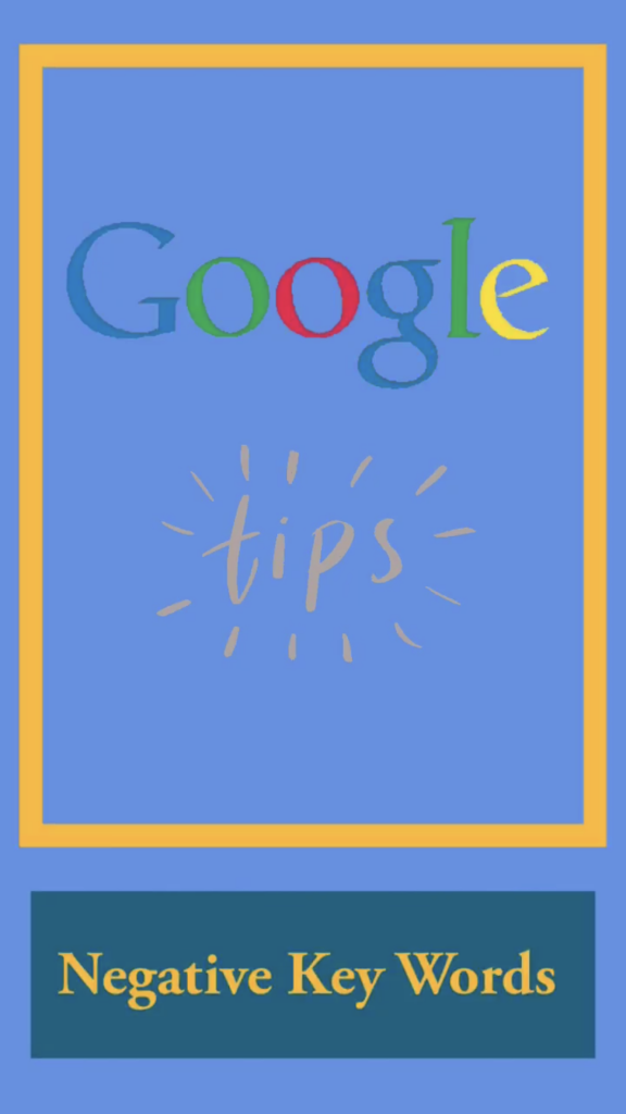 Google Ad Tips: Negative Key Words